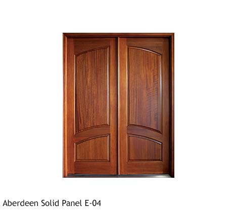 Traditional Mahogany solid panel double front doors, square top with arched inner raised panels