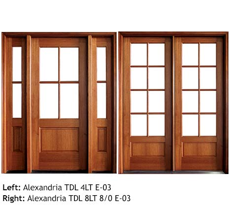 Traditional French doors square top single and double, Mahogany, 4 or 8 divided beveled glass lites, raised wood bottom panels 6/8 and 8/0, sidelights, transoms