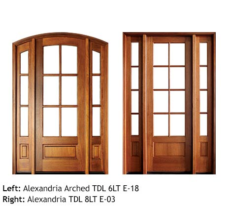Traditional French doors square top and arched top, Mahogany, 6 or 8 divided beveled glass lites, raised wood bottom panels single doors with sidelights, transoms
