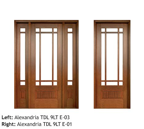 Arts and Crafts style single front doors, square top with divided lites, clear beveled glass, Mahogany raised bottom panels, sidelights