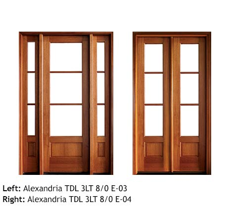 Transitional French doors square top single and double, Mahogany, 3 divided beveled glass panels, raised wood bottom panels 8/0, sidelights, transoms