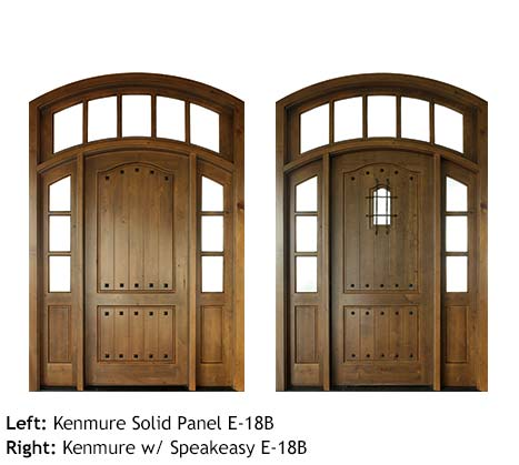 Spanish style arched top single front entry doors, Mahogany or Knotty Alder, raised v-groove wood panels, arched transom with divided glass lite panels, clavos, iron grill speakeasy, divided glass lite sidelights
