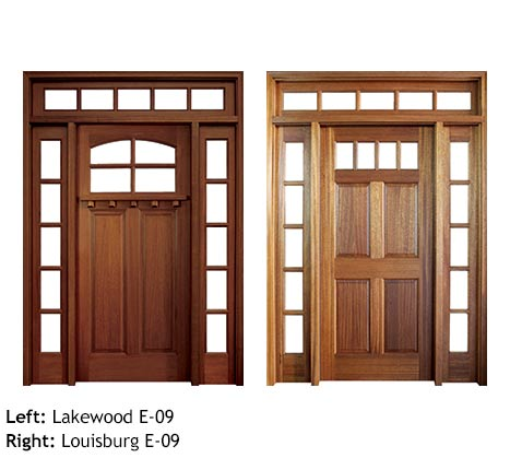 Bungalow style and Colonial single exterior door entries, Mahogany, clear beveled glass, divided 4 lite glass panels, raised wood panels with drip cap, 5 lite divided sidelights and transom