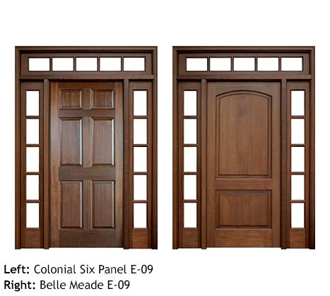 Colonial six panel and 2 panel exterior wood entry doors, with 5 lite divided sidelights and transom