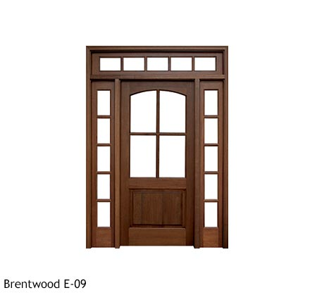 Country style square top single wood entry door, Mahogany, divided 4 beveled glass panels with wood bottom panel, 5 lite divided sidelights and transom