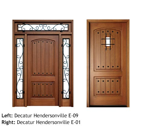 French country style square and arched top single front entry doors, Mahogany, raised v-groove wood panels, rectangular transom & sidelights with iron scroll work, clavos, iron grill speakeasy