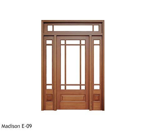 Arts and Crafts style single front door, square top with divided lites, clear beveled glass, Mahogany raised bottom panels, sidelights, transom
