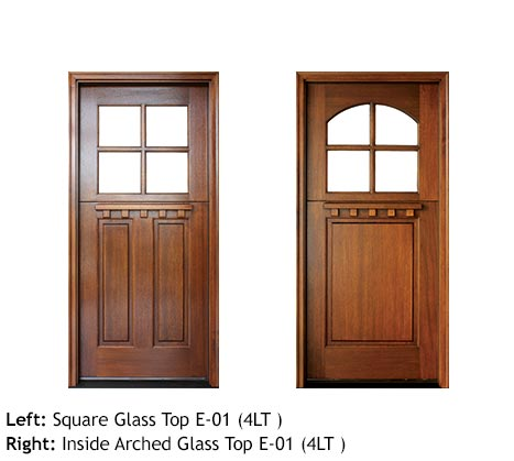 Cottage style entry doors, Mahogany square top with divided 4-lite glass top door, bottom door 1 or 2 raised panels, Craftsman style with drip cap
