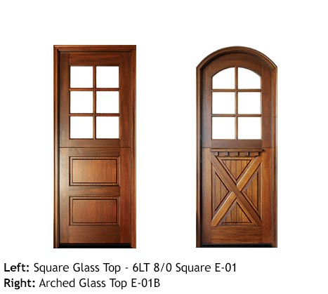 Dutch style entry doors, square and arched top divided 6-lite glass top door, bottom door 2 raised panels, cross-buck panel, Craftsman style with drip cap