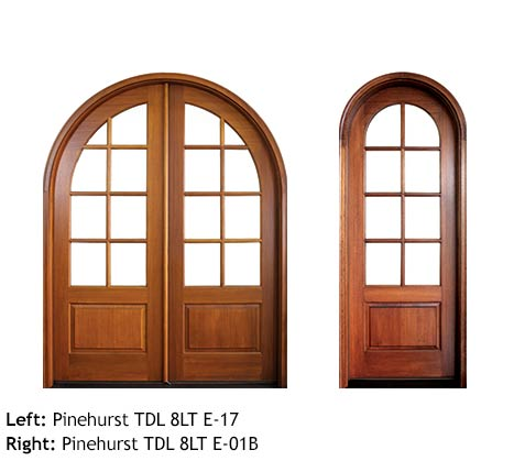 Round top French doors, mahogany, 8 divided lites, raised wood bottom panels