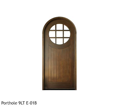 Round top country style single entry door, 9 divided lite porthole, Knotty Alder or Mahogany v-grooved wood panel