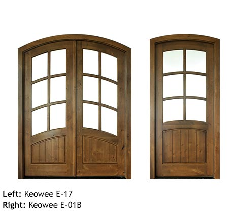 French Country style arched top single and double entry doors, Flemish glass divided glass 6 panels, raised wood bottom panels, Mahogany or Knotty Alder