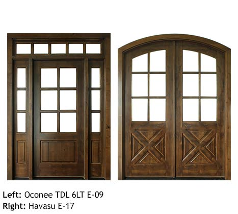 Country style Knotty Alder single and double door entries, divided Seeded Baroque glass 6 lite glass panels for door, sidelights and transom, bottom wood panels V-groove or cross-buck
