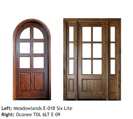 French country style, round top single mahogany door, and square top single beveled glass six lite door with sidelights, raised bottom panels.