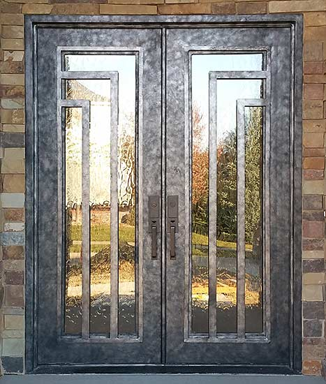 Stock double iron front door entry, Modern style, operable iron grill, Patented Thermal Break, silver patina finish, Orion collection