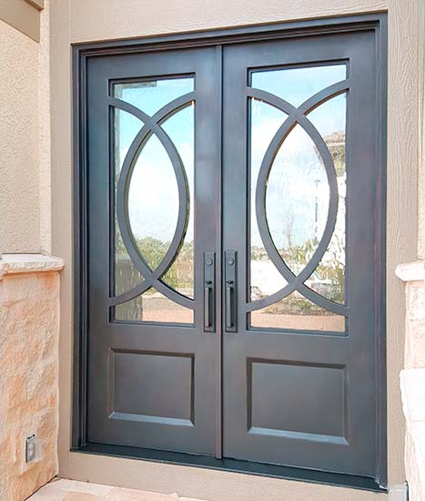 Contemporary custom double door iron entry, clear glass, square top, Patented Thermal Break, hand-rubbed bronze finish