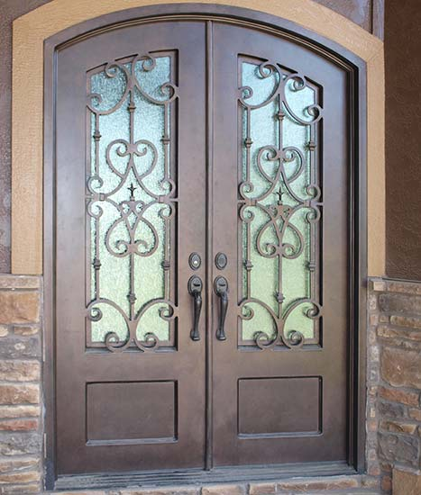 Double Door Iron Entry arched top, Italian style, Florence Collection, Patented Thermal Break, hand-rubbed finish, Cotswald glass, operable iron grill