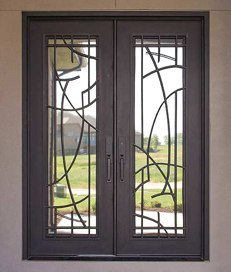 Contemporary double iron door entry, stock Cosmo Collection, clear glass, Patented Thermal Break, operable iron grill