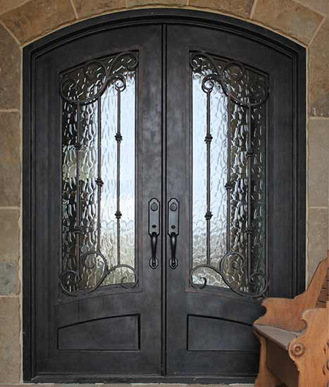 Double door Iron entry, stock design Chateau Collection, French country, Patented Thermal Break, Hand-rubbed bronze finish, operable iron grill Flemish glass