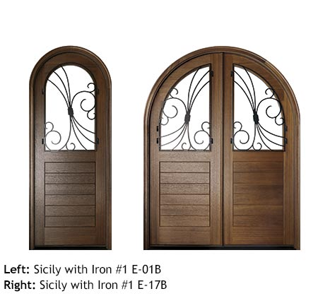 Orleans style round top Mahogany single and double front entry doors, v-grooved planked bottom panels, glass upper panels with swirled scrolled iron grills