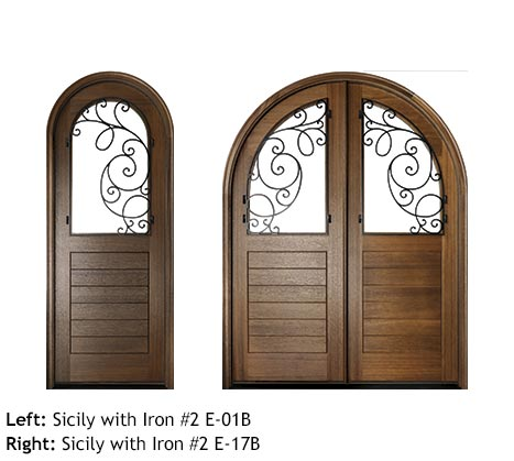 Southern style round top Mahogany single and double front entry doors, v-grooved planked bottom panels, glass upper panels with swirled scrolled iron grills