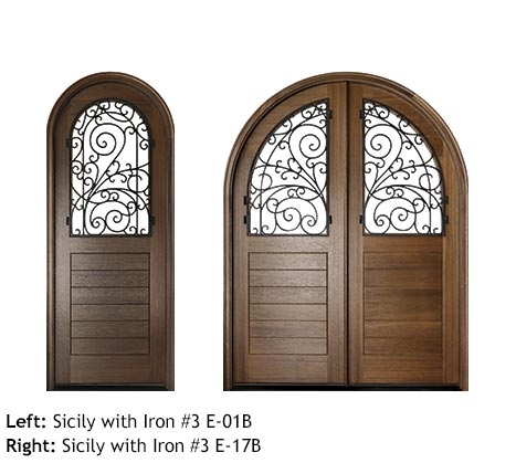 Italian style round top Mahogany single and double front entry doors, v-grooved planked bottom panels, glass upper panels with swirled scrolled iron grills