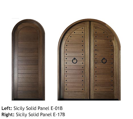 Spanish style single and double entry round top doors, Mahogany solid v-grooved planked panels, iron door knocker, clavos
