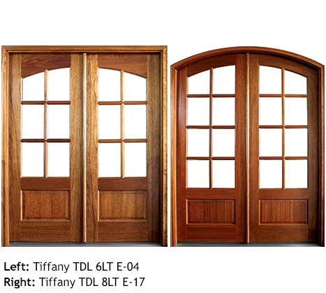 Traditional French doors square top and arched top, Mahogany, 6 or 8 divided beveled glass lites, raised wood bottom panels