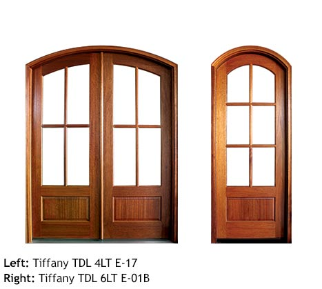 Traditional French doors arched top, Mahogany, 4 or 6 divided beveled glass lites, raised wood bottom panels