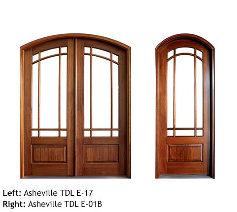 Craftsman style arched double and single entry doors, Mahogany, 9 divided lite glass panels, raised bottom panels