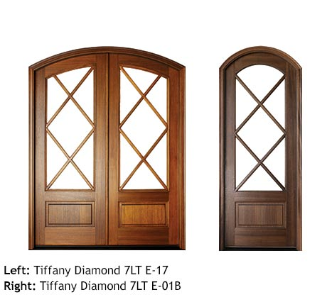Tudor style arched top single and double entry doors, diamond shaped divided glass panels, mahogany, bottom raised wood panels