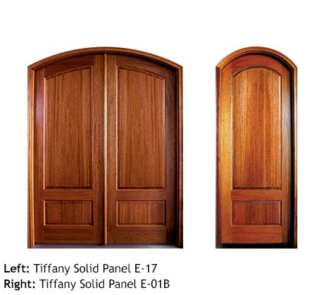 Traditional arched top single and double solid wood entry doors, Mahogany solid 2 panel doors
