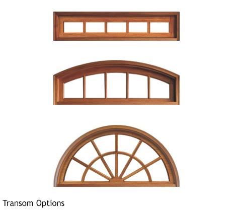 Three different segmented lite transom options; round top, arch top, rectangular, in Knotty Alder or Mahogany