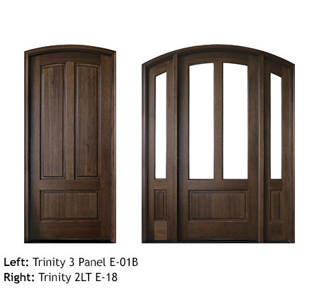Traditional 3 panel Mahogany wood single entry door, clear beveled glass, glass sidelights