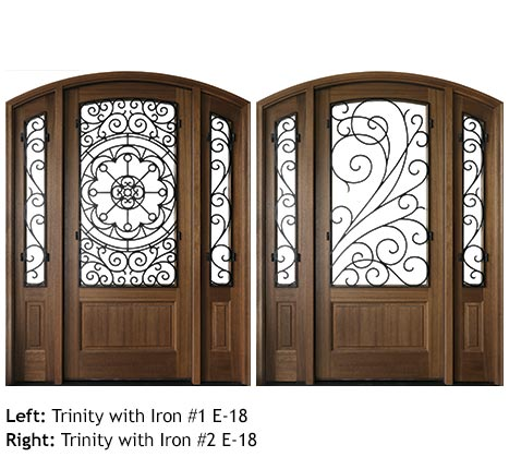 Traditional style Mahogany arched top single entry doors with glass sidelights, scrolled iron grills