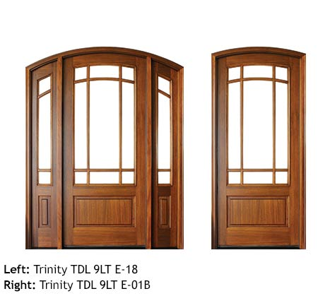 Craftsman style double and single front doors, arched top with divided lites, clear beveled glass, Mahogany raised bottom panels