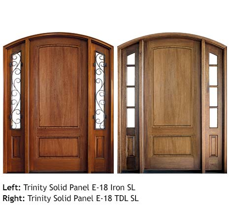 Traditional arched top single solid Mahogany panel front doors, glass sidelights with scrolled iron grills