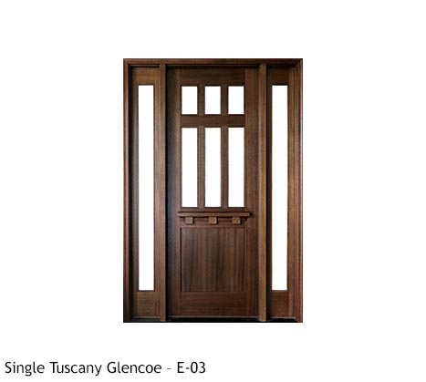 Knotty Alder Spanish style single entry door with clear beveled glass panels, drip cap, single lite sidelights