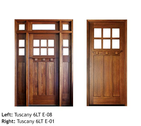 Craftsman style single front entry, Mahogany, Knotty Alder, clear beveled glass divided 6 lite panels, drip cap, sidelights, and transom
