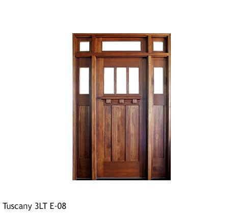 Bungalow style, single front entry, Mahogany, clear beveled glass, drip cap, divided 3 lite glass panels, sidelights, transom