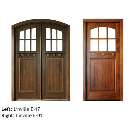 Arts and Crafts style double and single door entry, Mahogany, clear beveled glass, drip cap, divided 6 lite glass panels, raised wood panels