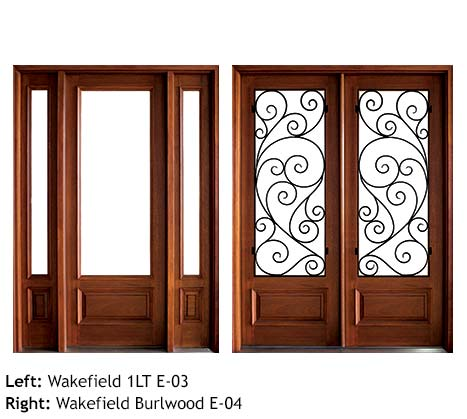 Modern style single and double front entry doors, Mahogany, clear glass with contemporary swirled iron grill, sidelights