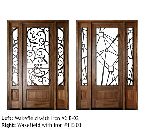 Art Deco style single front entry doors with sidelights, clear or Flemish glass panels, iron grills, Mahogany, square top