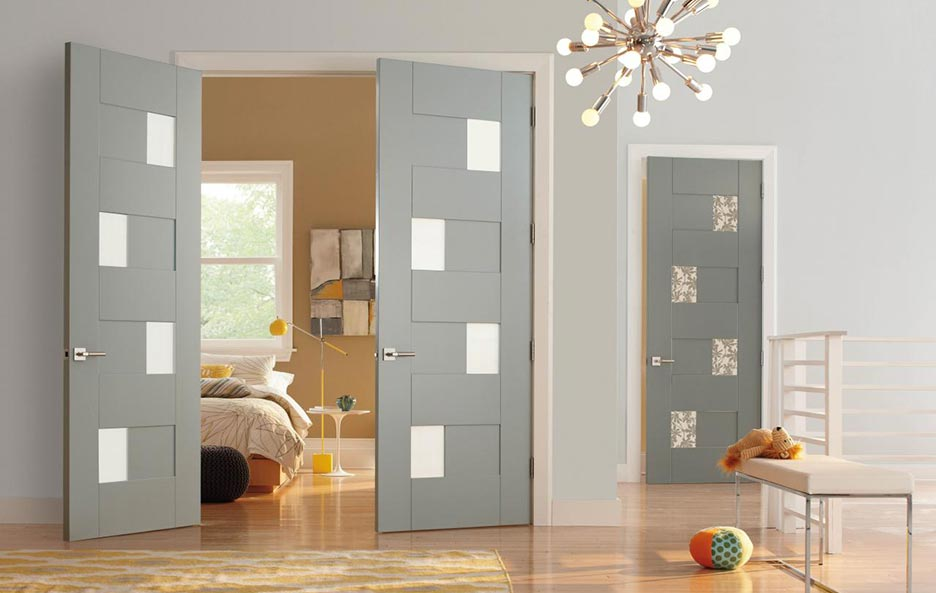 Modern contemporary interior doors, double & single bedroom doors, painted finish, white lami and leaf resin panels, Model TM9420