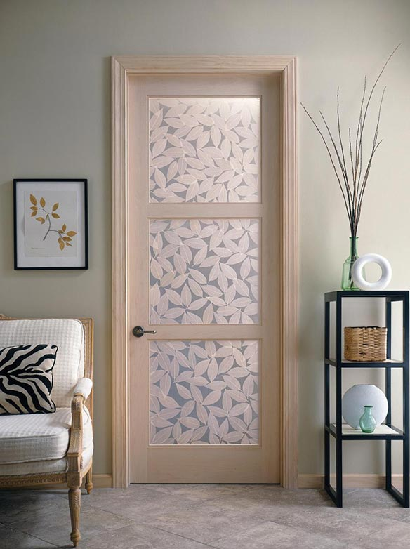 Transitional interior paneled door w/ 3 Fossil leaf resin panels, Model TS3000