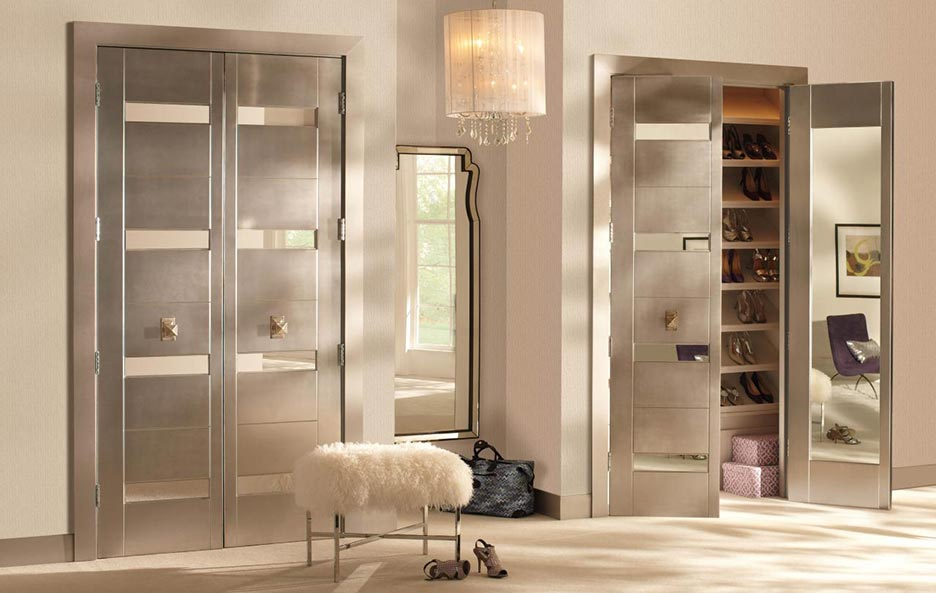 Contemporary interior double closet doors with inset mirror panels, white oak, pickled finish, Model TM9330