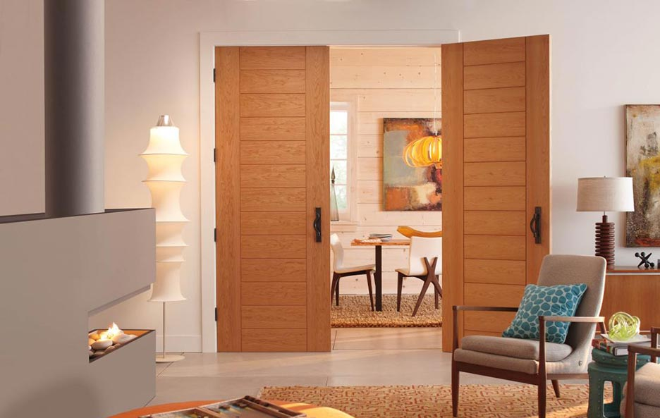 Modern Contemporary style, interior double family room doors, natural Red Oak, wide stiles, Model TM3000