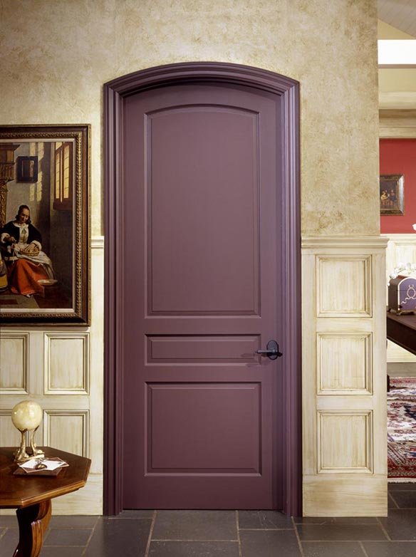 Traditional single interior arch top MDF door, painted purple finish, 3 raised panels, Model TS3050