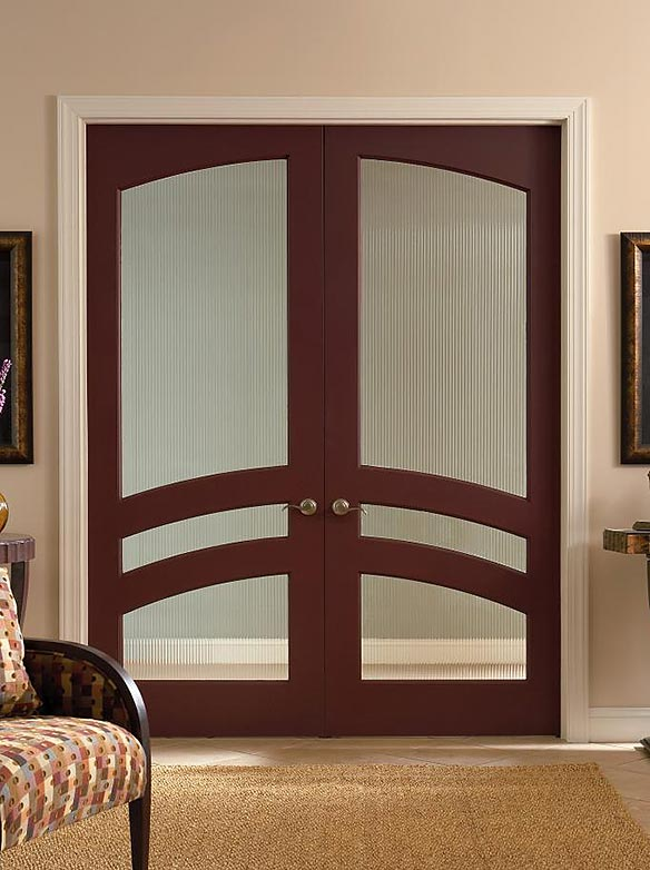Traditional style, interior double doors, art glass panels, mahogany, square top w/ interior common arch, Model TS3160